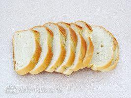 Горячие бутерброды с печенью: Батон нарезать