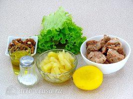 Салат из консервированного лосося с ананасами: Ингредиенты