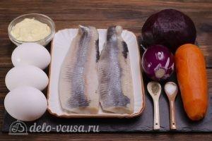 Селедка под шубой без картошки: Ингредиенты