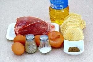 Котлета-бризоль в вафельных коржах: Ингредиенты
