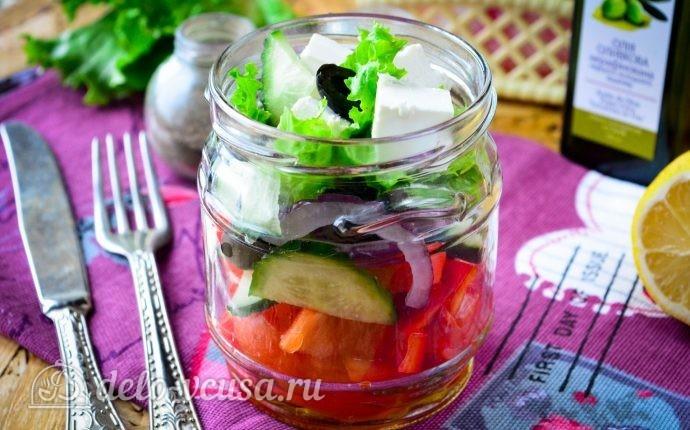Рецепт греческий салат в банке