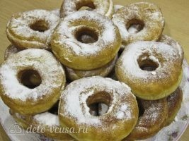 Сахарные пончики на кефире без дрожжей: фото к шагу 12.