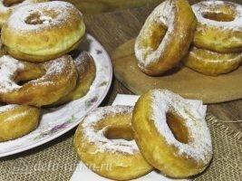 Сахарные пончики на кефире без дрожжей: фото к шагу 13.