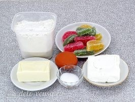 Творожные рогалики с мармеладом: Ингредиенты