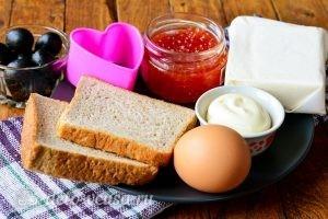 Канапе в форме сердечек: Ингредиенты