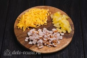 Блины на молоке и 3 начинки с сыром: Подготовим первую начинку