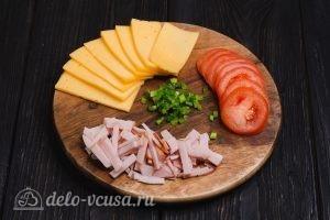 Блины на молоке и 3 начинки с сыром: Подготовить вторую начинку