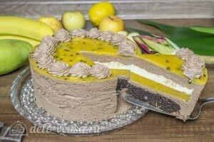 Шоколадный муссовый торт манго-маракуйя: фото к шагу 27.