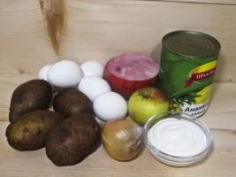 Салат Ананас с ветчиной: Ингредиенты
