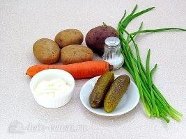 Закусочный салат с картофелем, морковью и свеклой: Ингредиенты