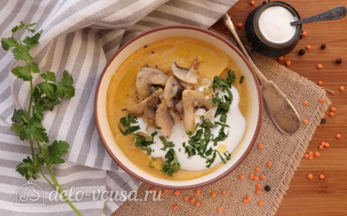 Суп-пюре из чечевицы со сливками: фото блюда приготовленного по данному рецепту