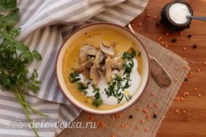 Суп-пюре из чечевицы со сливками: фото к шагу 9.