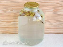 Березовый сок с веточкой смородины на зиму: фото к шагу 4.