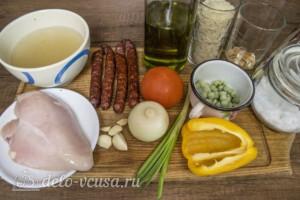 Рис с курицей и копчеными колбасками: Ингредиенты