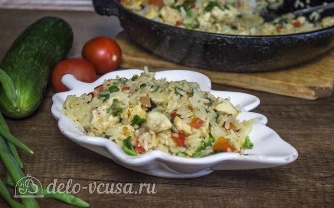 Рис с курицей и перцем за 25 минут