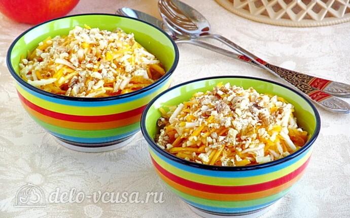 Салат из свежей тыквы и яблока за 10 минут