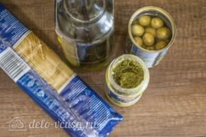 Спагетти с соусом Песто и оливками: Ингредиенты