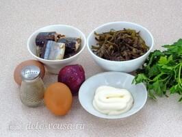 Салат из морской капусты с сайрой: Ингредиенты
