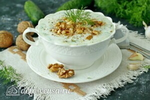 Болгарский суп Таратор с грецкими орехами: фото к шагу 8.