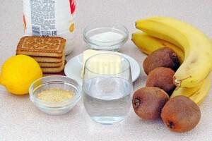 Низкокалорийный йогуртовый торт с бананом и киви: Ингредиенты