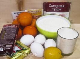 Кекс с мандаринами под сахарной глазурью: Ингредиенты
