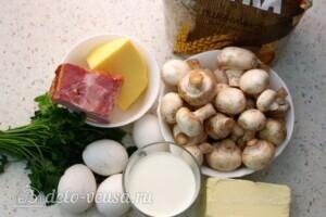 Киш с грибами и беконом: Ингредиенты