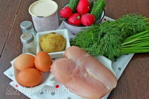 Окрошка с курицей на ряженке: Ингредиенты