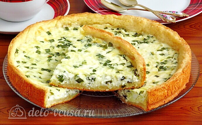 Пирог с зернёным творогом и сыром
