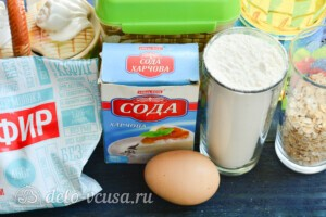 Овсяные оладьи на кефире: Ингредиенты
