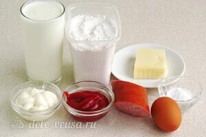 Быстрый пирог на кефире с колбасой: Ингредиенты
