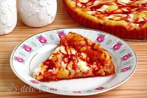 Быстрый пирог на кефире с колбасой: фото к шагу 14.