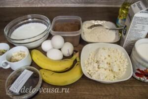 Шоколадные блинчики с творогом и бананом: Ингредиенты