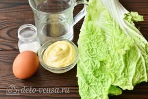 Салат из пекинской капусты с яичными блинчиками: Ингредиенты