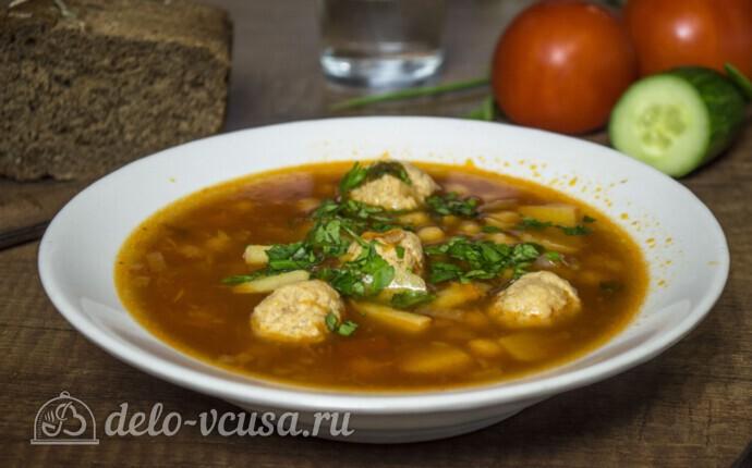 Суп с фрикадельками и нутом