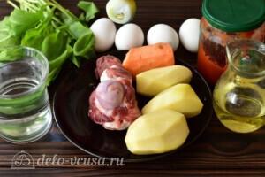 Зеленый борщ с томатной пастой: Ингредиенты