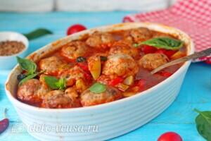 Фрикадельки из индейки в овощном соусе: фото к шагу 11.