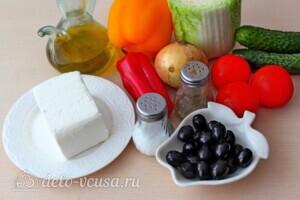 Греческий салат с пекинской капустой: Ингредиенты
