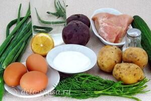 Холодный свекольник с курицей: Ингредиенты