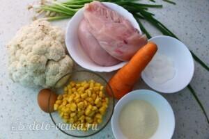 Куриные котлеты с цветной капустой и кукурузой: Ингредиенты