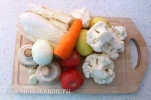 Низкокалорийный овощной суп с шампиньонами: Ингредиенты