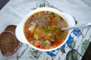 Низкокалорийный овощной суп с шампиньонами: фото к шагу 8.