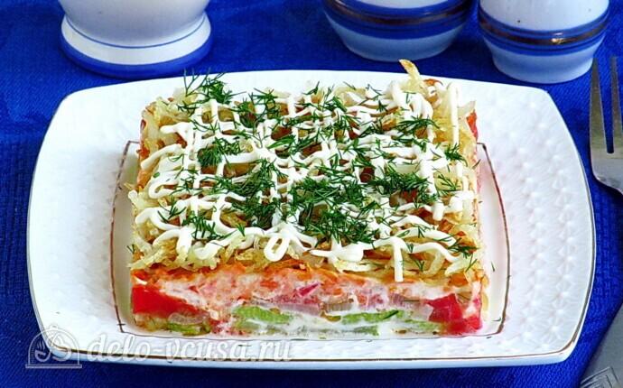Овощной салат-торт с жареными кабачками: фото блюда приготовленного по данному рецепту