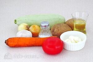 Овощной салат-торт с жареными кабачками: Ингредиенты