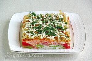 Овощной салат-торт с жареными кабачками: фото к шагу 26.