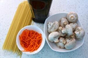 Паста с шампиньонами и морковкой по-корейски: Ингредиенты