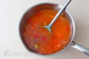 Суп-пюре из чечевицы с овощами: фото к шагу 8.