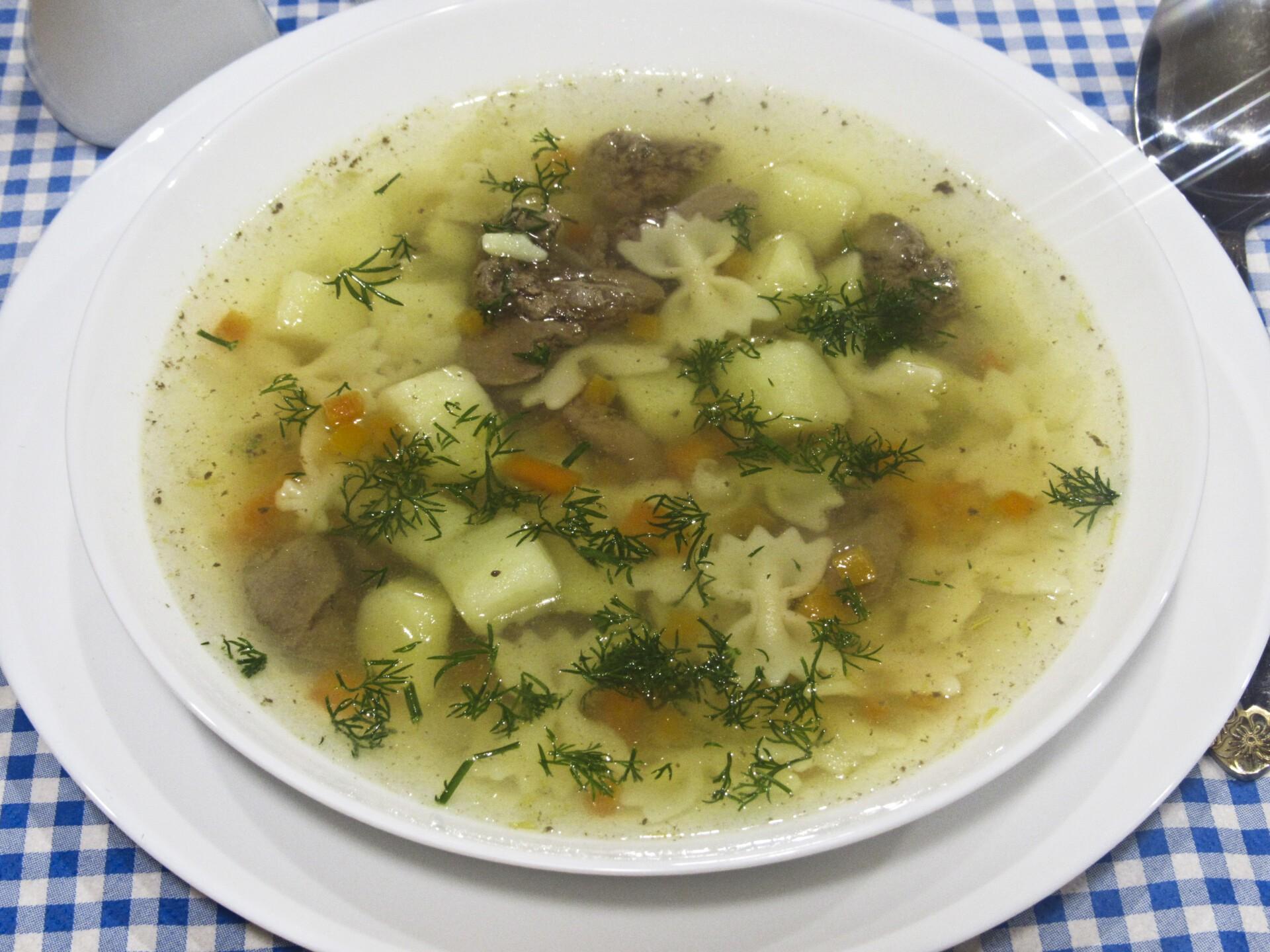 Суп с куриной печенью и вермишелью