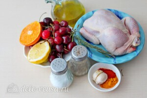 Цыпленок запеченный в апельсинах с вишневым соусом: Ингредиенты