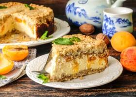 Рецепт абрикосовый насыпной пирог с творогом
