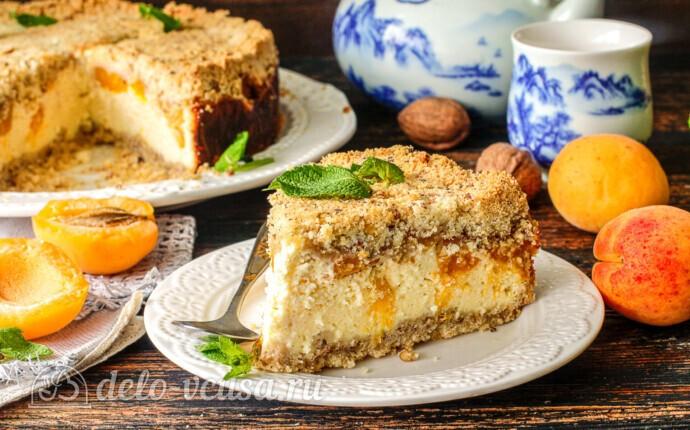 Абрикосовый насыпной пирог с творогом